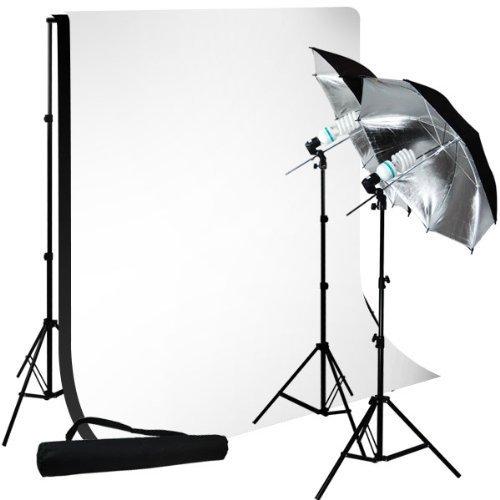 "LimoStudio Photo Studio 10'x10' Muslin Black White Backdrop Support Kit 700W 33"" Black Silver Umbrella Light Kit, LMS712"