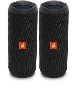 JBL Flip 4 Waterproof Portable Bluetooth Speaker, Black (Pair)