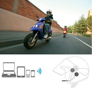 VR-robot Motorcycle Helmet Headset, Bluetooth intercom Headset,Wireless Helmet Heaphones,Speakers Hands free,Music Call Control,Bluetooth Motorbike(Black)