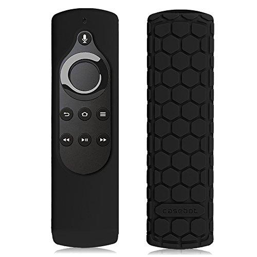 Fintie CaseBot Silicone Case for Amazon Fire TV Stick Voice Remote, Compatible with Amazon Echo / Echo Dot Alexa Voice Remote - Honey Comb Series [Anti Slip] Shock Proof Cover, Black