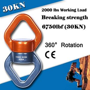 Rotational Device, AYAMAYA Safest Swing Swivels Connector[30KN] Safety 360° Rotator Accessory for Hanging Rope Swing Spinner Climbing Carabiner Gimbal Ring Aluminum Magnesium Alloy(Orange & Grey)